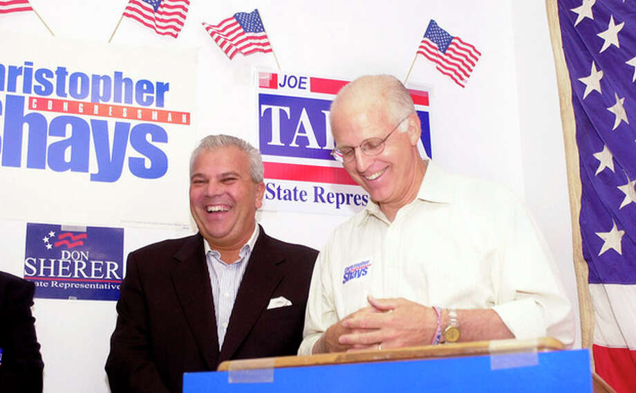 Stamford Times Photo/Suzie O'Rourke U.S. State Representative Michael Fedele (R-147), left, laughs alongside U.S. Rep. Christopher Shays (R-4), right, as he speaks at the opening of the Stamford Republican Headquarters located at 1033 Washington Blvd.