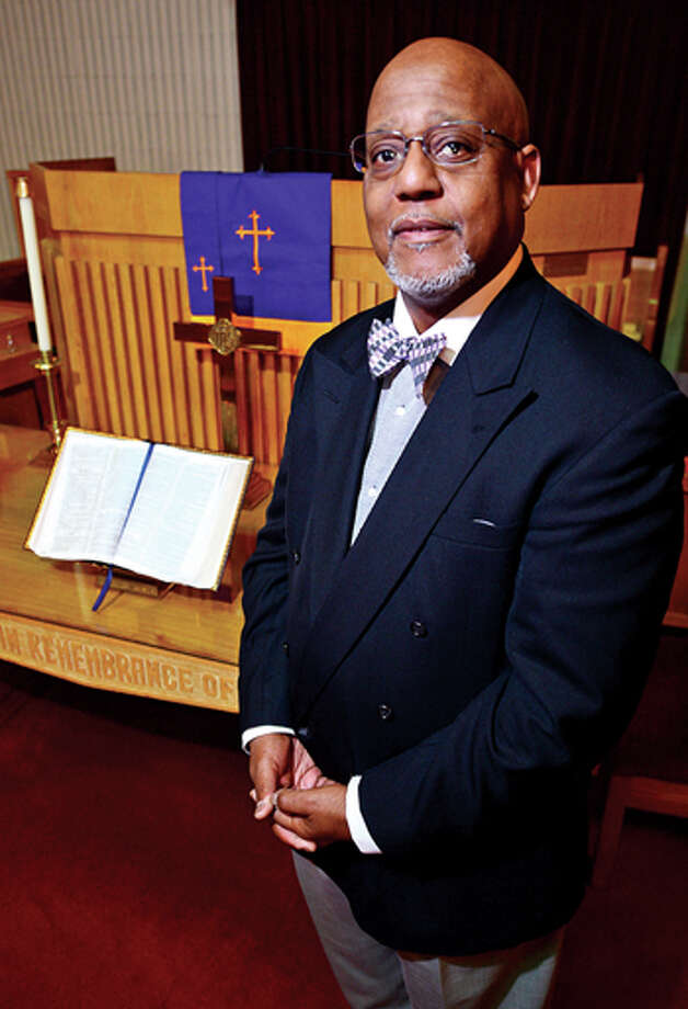 The Reverend Lindsay Curtis of Grace Baptist Church, for the third time, is applying to open a charter school, South Norwalk Collegiate Academy. Hour photo / Erik Trautmann / (C)2013, The Hour Newspapers, all rights reserved