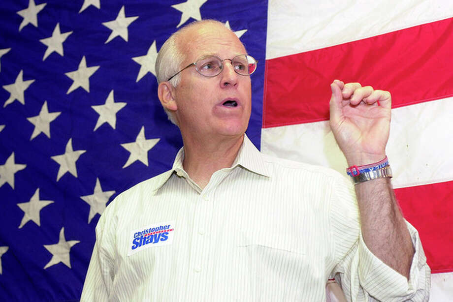 Stamford Times Photo/Suzie O'Rourke U.S. Rep. Christopher Shays, above, speaks to those gathered at the opening of the Stamford Republican Headquarters about the importance of supporting the candidates at upcoming events.