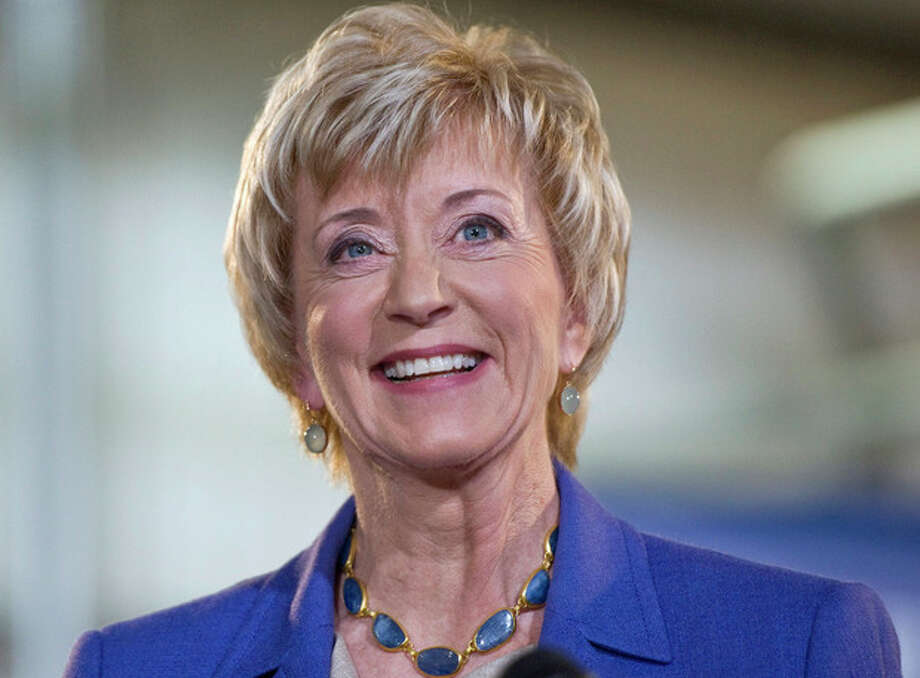 Republican Senate hopeful Linda McMahon smiles during her first news conference since announcing her second bid for U.S. Senate in Newington, Conn., Wednesday, March 14, 2012. McMahon is proposing tax cuts for the middle class and businesses among other economic proposals she says will jump-start the economy. (AP Photo/Jessica Hill) / AP2012