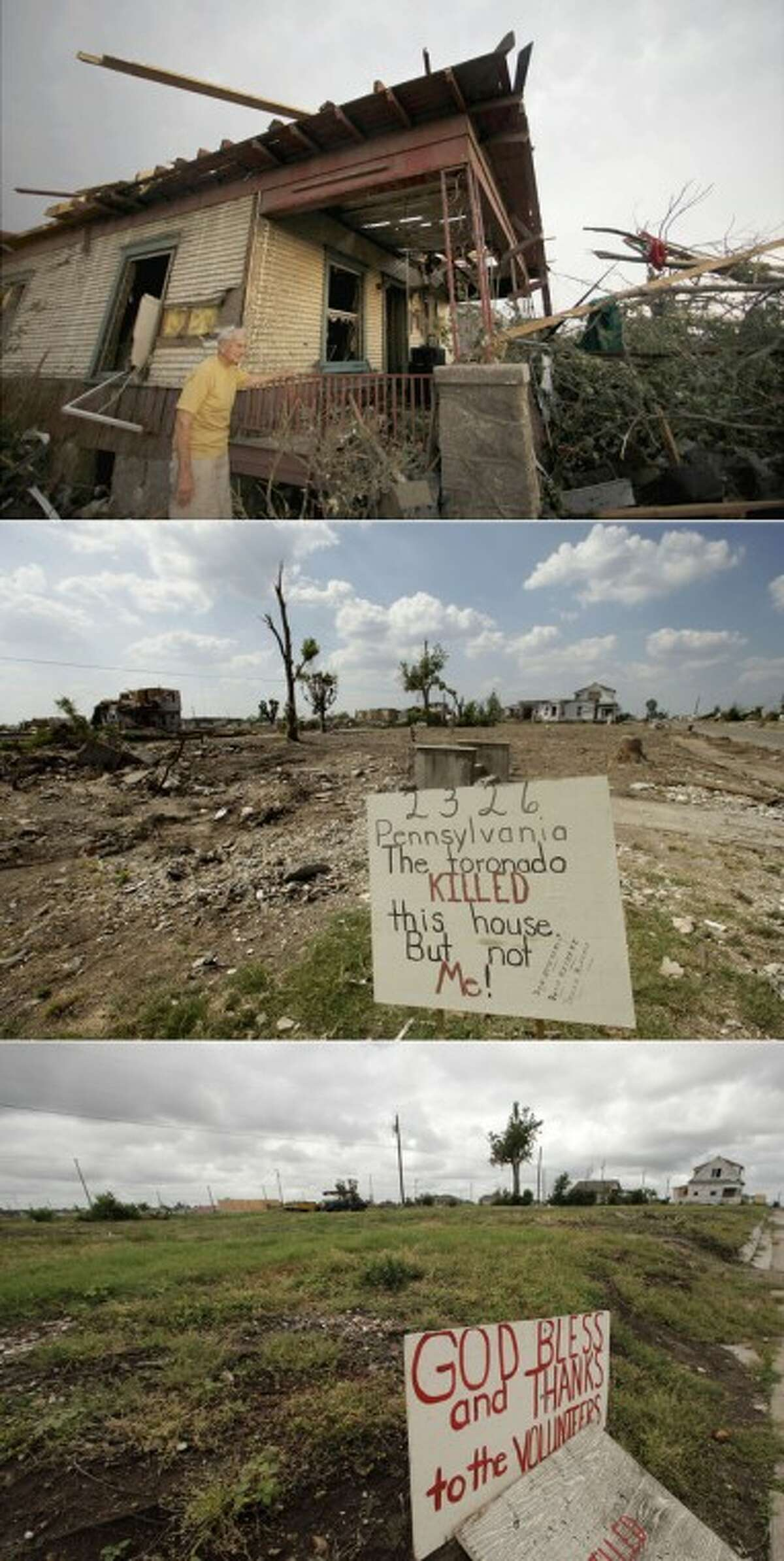 This three-photo combo shows a scene taken on May 23, 2011, top, July 21, 2011, center, and May 7, 2012, bottom, shows progress made in Joplin, Mo. in the year after an EF-5 tornado destroyed a large swath of the city and killed 161 people. In the top photo, Don Atteberry, 89, surveys damage at his home that was severely damaged by the tornado and is today cleared with just a sign as a reminder of the past residents. (AP Photo/Charlie Riedel)