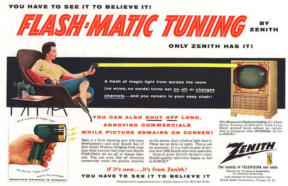 "This undated photo of a 1955 advertisement, provided by LG Electronics, shows an ad for a Zenith ""Flash-Matic,"" the first wireless TV remote control. A spokesman for Zenith Electronics says engineer Eugene Polley, the inventor of the device, died Sunday, May 20, 2012, of natural causes in Downers Grove, Ill. He was 96. Polley and fellow Zenith engineer Robert Adler were honored in 1997 with an Emmy for their work in pioneering TV remotes. (AP Photo/LG Electronics) / LG Electronics"