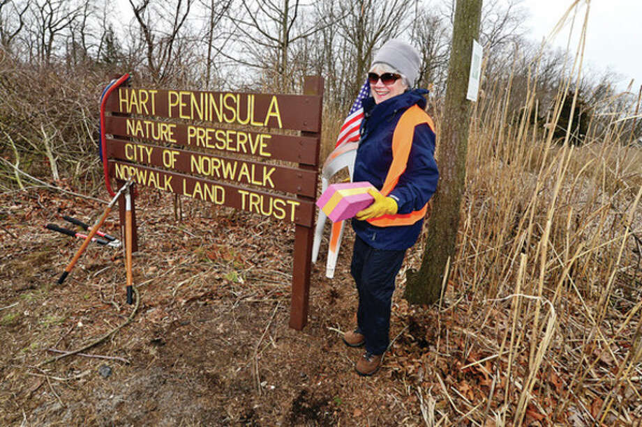 Kathy Siever huls out trash from Hart Peninsula during The Norwalk Land Trust (NLT) major storm cleanup at Farm Creek Preserve on Sammis Street in RowaytonSaturday.Hour photo / Erik Trautmann / (C)2013, The Hour Newspapers, all rights reserved