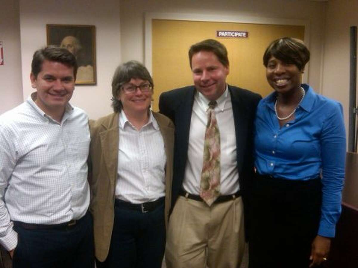 Ted Hoffstatter, second from right, with, from left, Vinny Mangiacopra, Pat Gill and Amanda Brown during a Tuesday night Democratic convention where he was nominated to run for the 143rd District seat in the General Assembly. Contributed photo.