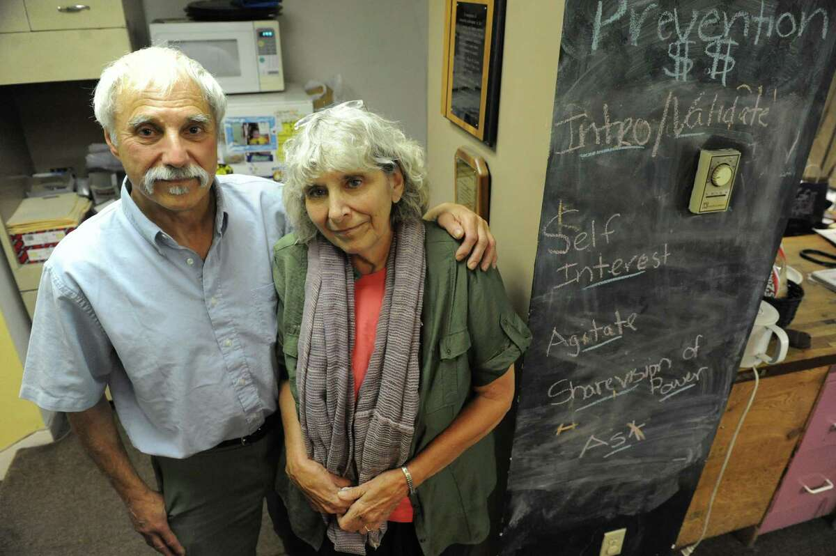 Roger and Maria Markovics, who are retiring after running United Tenants of Albany for 43 years on Tuesday June 14, 2016 in Albany, N.Y. (Michael P. Farrell/Times Union)