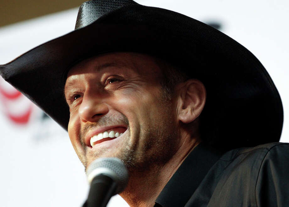 Country music star Tim McGraw speaks during a news conference at the Country Music Hall of Fame and Museum on Monday, May 21, 2012, in Nashville, Tenn. McGraw announced he has signed a multi-album deal with Big Machine Records, officially ending his rocky relationship with his only previous label, Curb Records. (AP Photo/Mark Humphrey) / AP