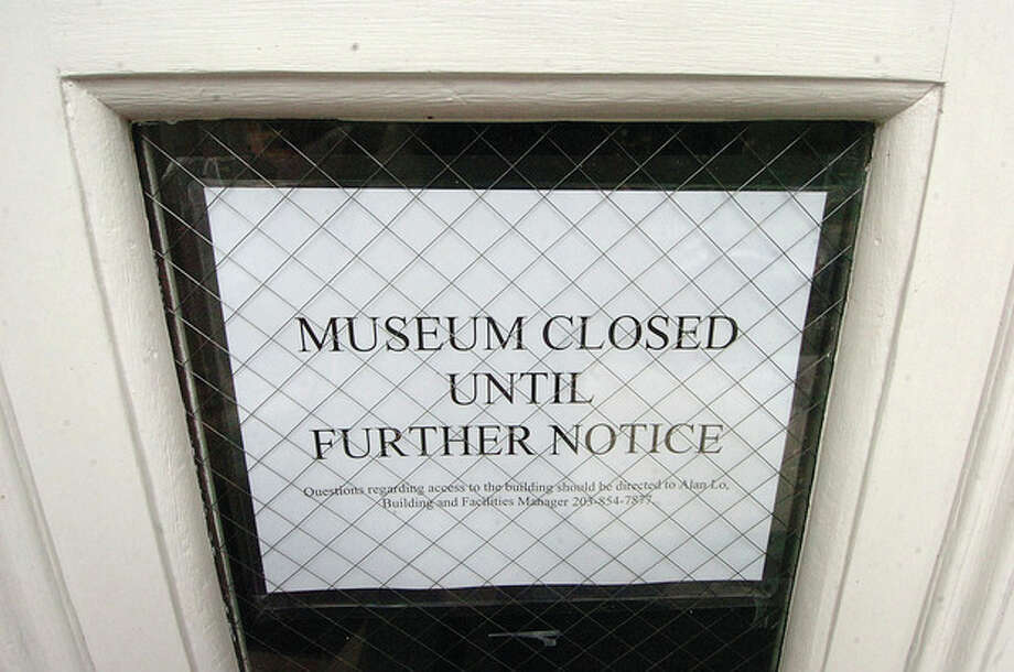 Hour Photo/ Alex von Kleydorff. Sign on the door of the Norwalk Museum / 2012 The Hour Newspapers