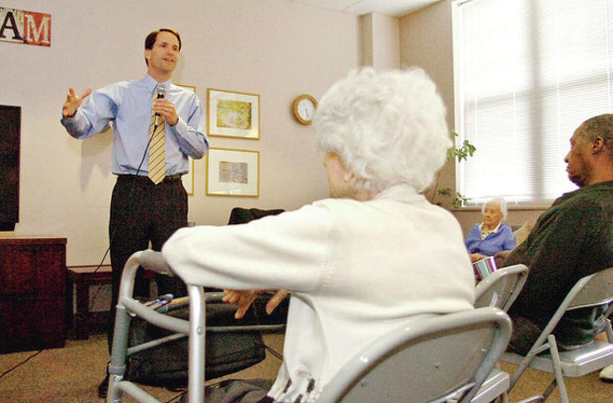 Congressman Jim Himes talks to seniors ta TheMarvin Wednesday. Hour photo / Erik Trautmann