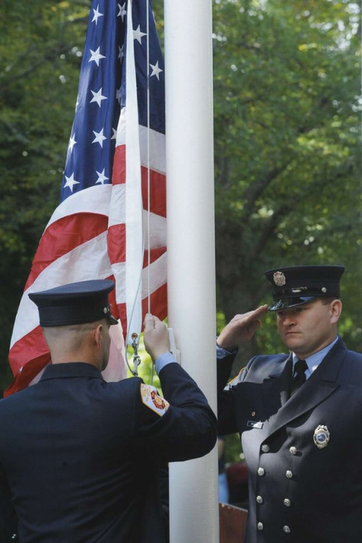 Wilton Fire Department holds a remembrance ceremony Sunday for Wilton residents killed the September 11th attacks. hour photo/matthew vinci