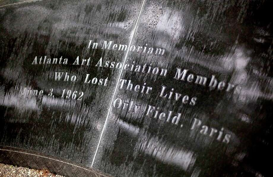This May 9, 2012 photo shows a memorial to the victims of the June 3, 1962 plane crash at Orly Field in Paris that killed 100 of Atlanta's cultural leaders, at the High Museum of Art in Atlanta. (AP Photo/David Goldman) / AP