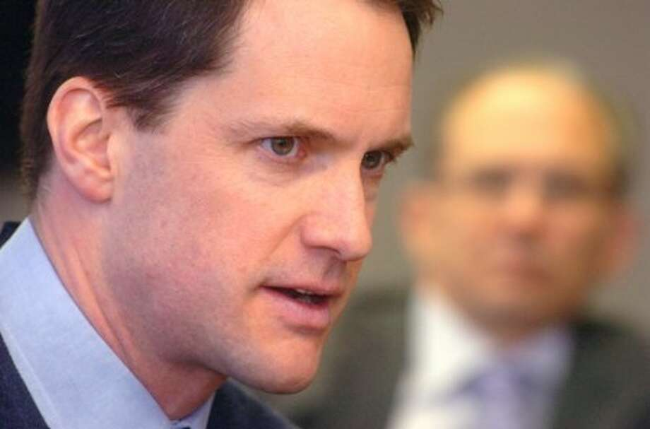 Photo/Alex von Kleydorff. Congressman Jim Himes meets with the Editorial Board at The Hour Newspapers Tusday.