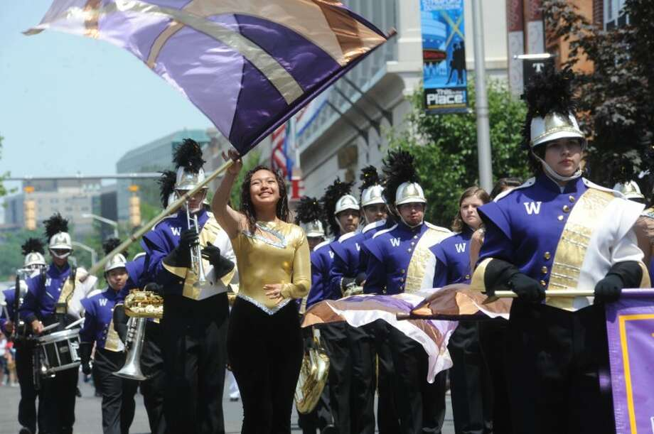 The Westhill High School marching band Sunday at the Stamford Memorial Day Parade. photo/Matthew Vinci