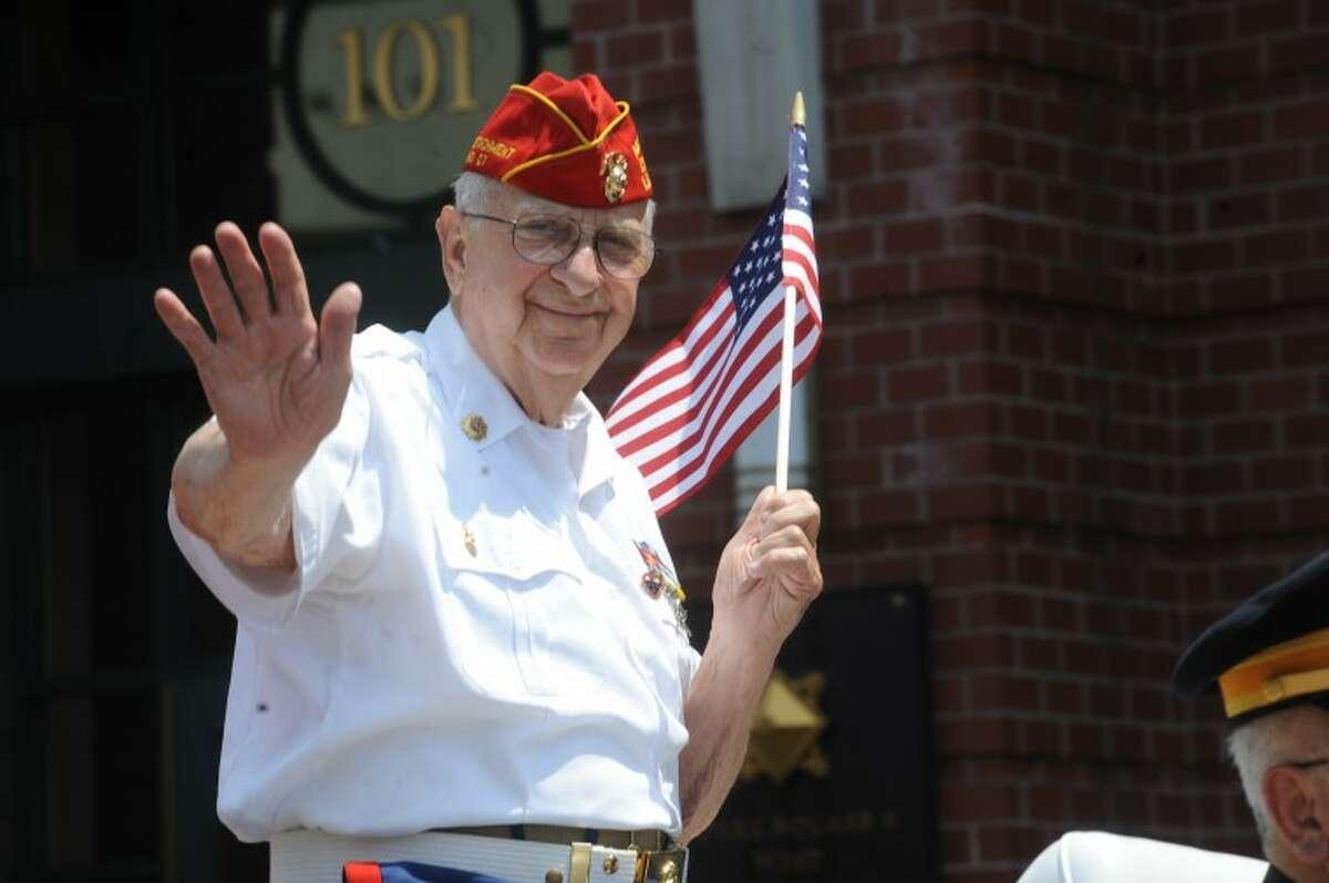 Marine veteran Joe Santagata at the Stamford Memorial Day Parade Sunday. hour photo/Matthew Vinci