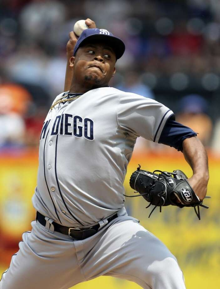 San Diego Padres starting pitcher Edinson Volquez delivers during the first inning of the baseball game against the New York Mets, Sunday, May 27, 2012, at Citi Field in New York. (AP Photo/Seth Wenig).