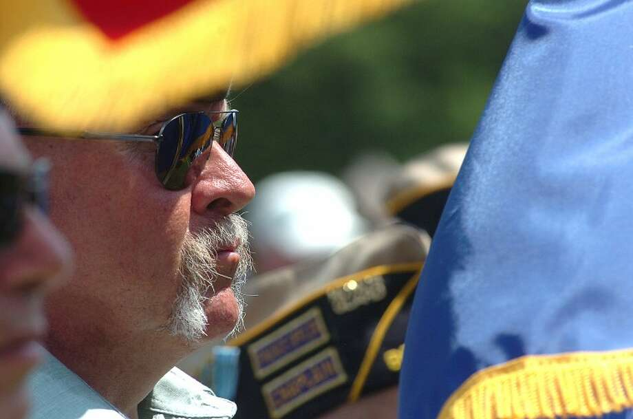 Hour Photo/ Alex von Kleydorff. Wiltons American legion Post 86 Color Guards Tom Moore