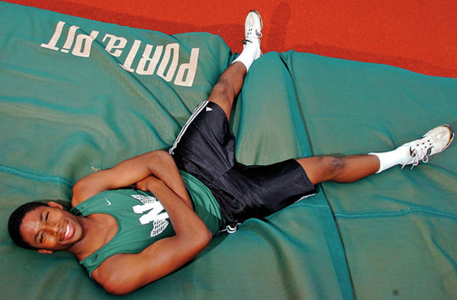 Isiah Bell is a senior high jumper on the NHS track team and will be featured in the next installment of High School Sports Extra.Hour photo / Erik Trautmann / (C)2012, The Hour Newspapers, all rights reserved