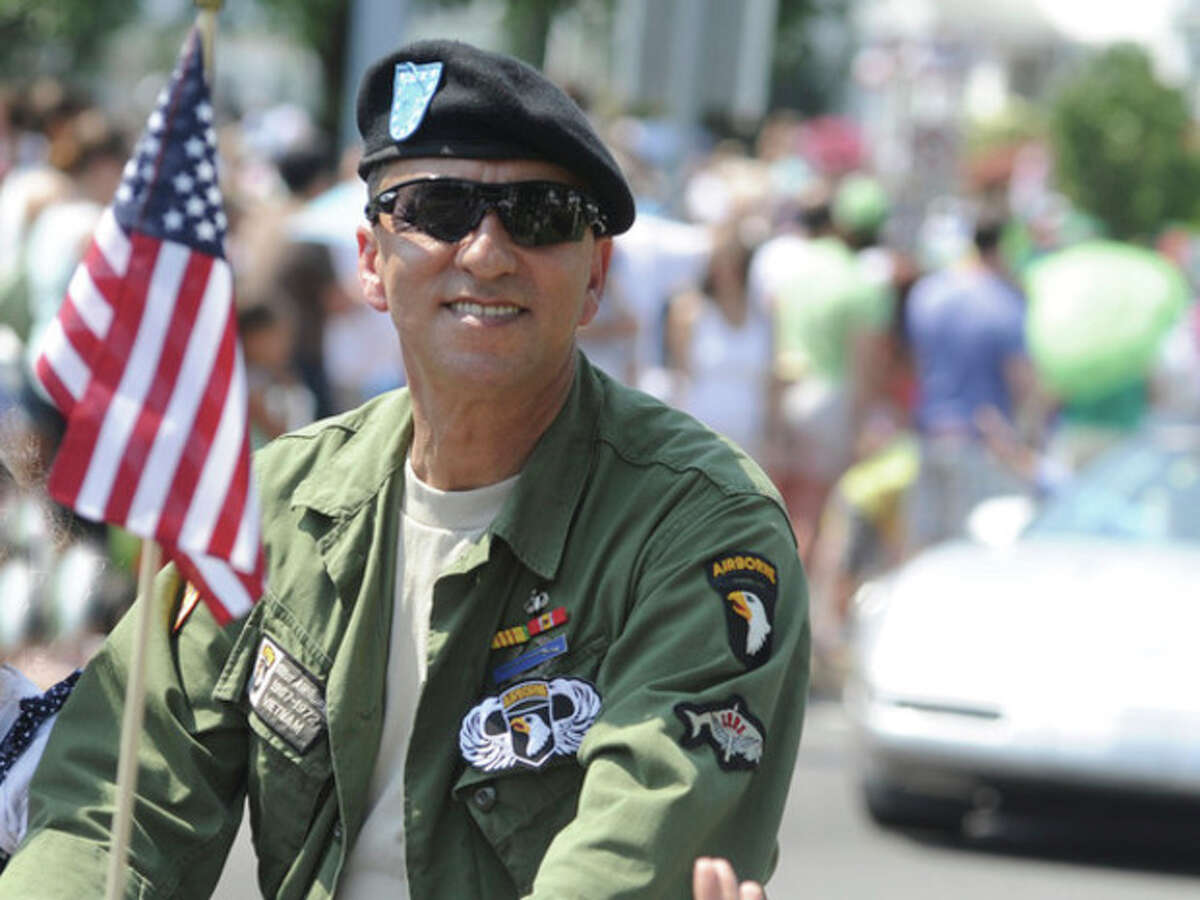 Vietnam veteran Antonio St Lorenzo Monday at the Norwalk Veterans Day Parade. hour photo/Matthew Vinci