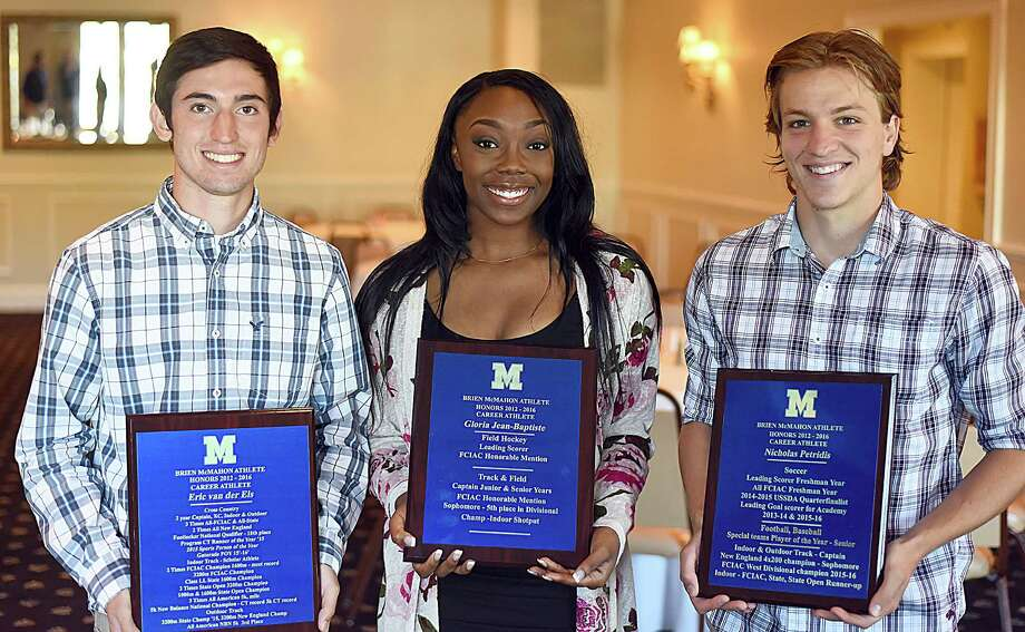 Brien McMahon High School Career Athlete Award winners, from left, Eric van der Els, Gloria Jean-Baptiste and Niko Petridis were honored during a special senior breakfast at Chatham Manor in Norwalk on Tuesday. Photo: John Nash / Hearst Connecticut Media / Connecticut Post
