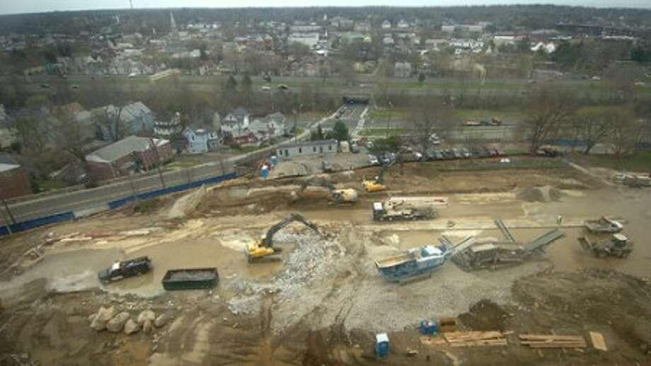 Photo/Alex von Kleydorff. Construction continues on the Norwalk Hospital parking garage, seen from the 7th floor.