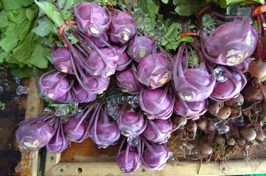 Photo by Alex von Kleydorff. Fresh colorful Kohlrabi at The Westport farmers market.