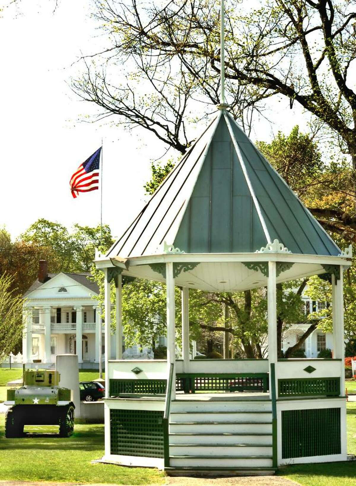 The bandstand on the village green in New Milford on Friday, April 23, 2010.