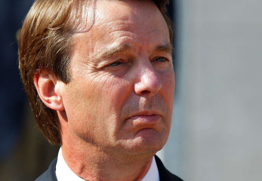Ex-presidential candidate John Edwards speaks outside a federal courthouse after his campaign finance fraud case ended in a mistrial Thursday, May 31, 2012 in Greensboro, N.C. Jurors acquitted Edwards on one charge and deadlocked on the other five, unable to decide whether he used money from two wealthy donors to hide his pregnant mistress while he ran for president and his wife was dying of cancer. (AP Photo/Chuck Burton) / AP