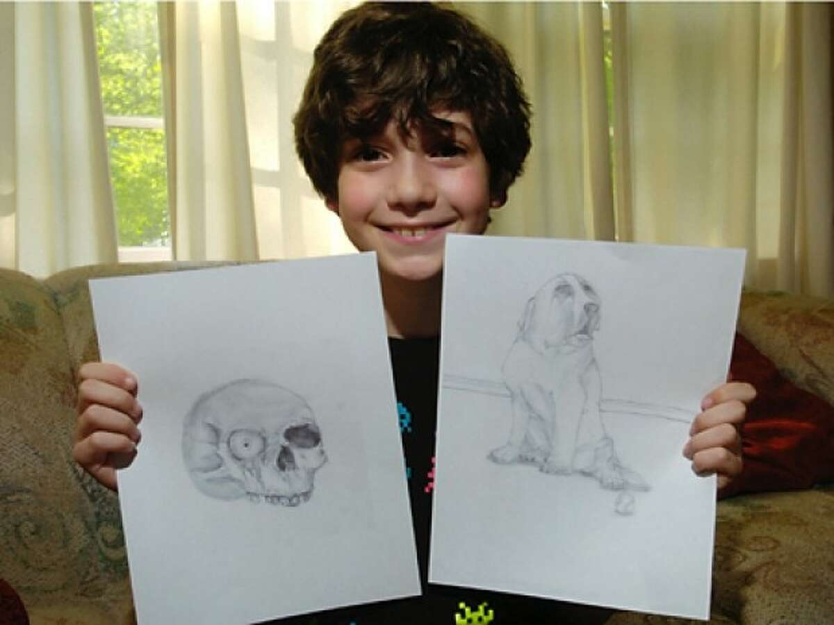 A 10-year-old from St. Cecilia Elementary School in Stamford, Gabriel Sgandurra, an artist and writer, has already been published and this year received a national award for his work. Hour photo / Erik Trautmann