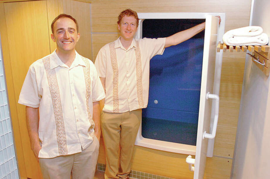 Hour photo / Erik TrautmannDavid Conneely and Andrew Shinn in their Westport business, iFloat Spa. / (C)2012, The Hour Newspapers, all rights reserved