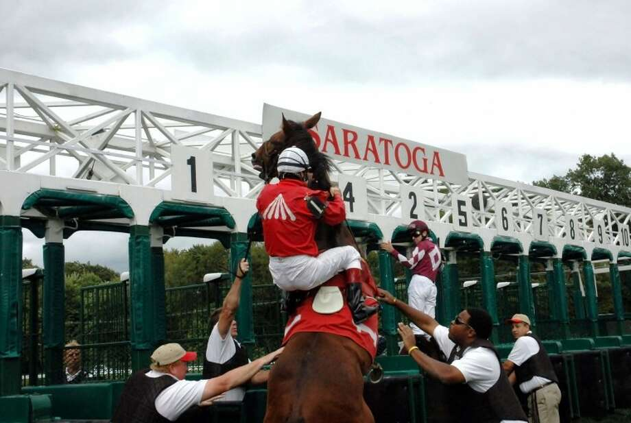 Horses aren't always the most cooperative creatures when it comes to getting into the starting gate.