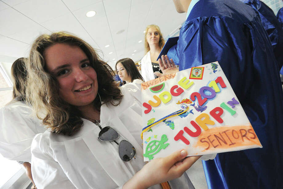 Sophia Drazkiewisc at the Brien McMahon graduation. hour photo/matthew ivnci