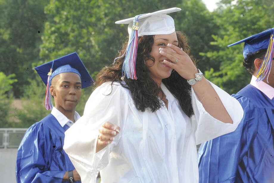 The Brien McMahon High School graduation Monday. hour photo/matthew vinci