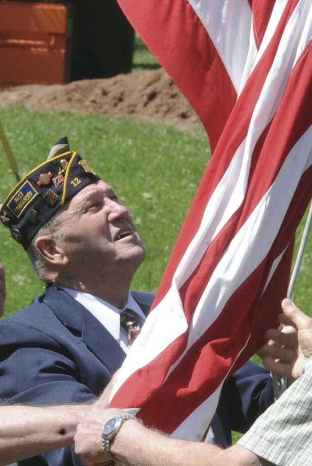 Past Commander Bob Forbes at the veteran of the month ceremony for Norwalk Native John Dominick. hour photo/Matthew Vinci