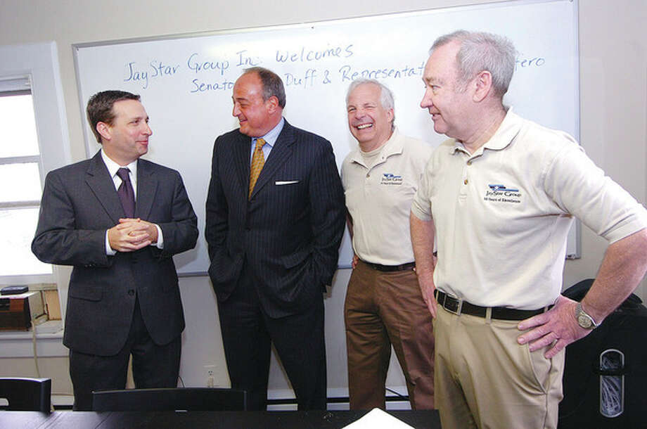 Hour Phopto/Alex von KleydorffState Sen. Bob Duff and state Rep. Larry Cafero visit JayStar Group in Norwalk, with President Dave Roger and CEO Bob Stevenson, on Monday morning. / 2013 The Hour Newspapers