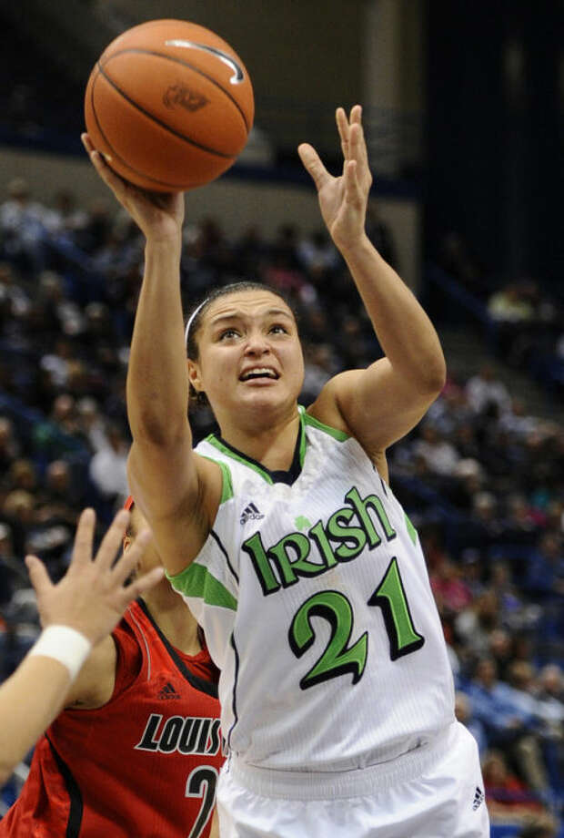 Notre Dame's Kayla McBride shoots in the second half of an NCAA college basketball game against Louisville in the semifinals of the Big East Conference women's tournament in Hartford, Conn., Monday, March 11, 2013. Notre Dame won 83-59. (AP Photo/Jessica Hill)