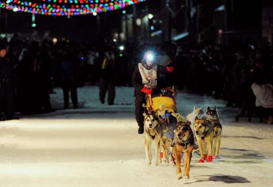 Lead dog Tanner brings Mitch Seavey's dog team into the finish chute and under the burled arch in Nome on Tuesday evening, March 12, 2013. (AP Photo/The Anchorage Daily News, Bill Roth) LOCAL TV OUT (KTUU-TV, KTVA-TV) LOCAL PRINT OUT (THE ANCHORAGE PRESS, THE ALASKA DISPATCH) / The Anchorage Daily News