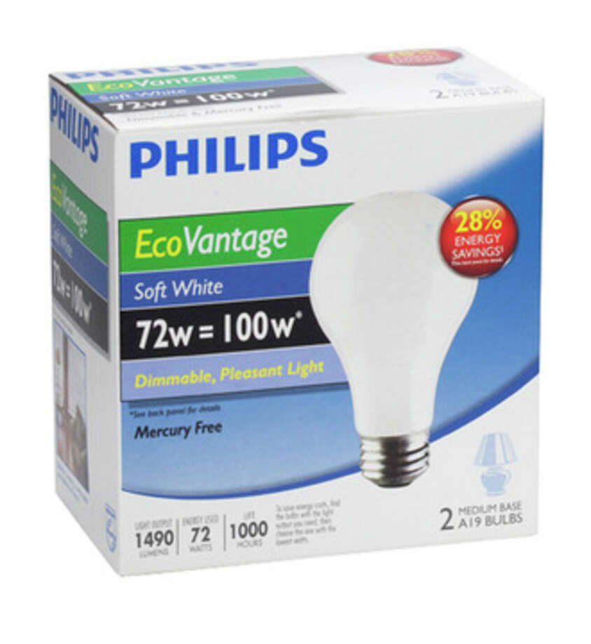 AP photo This product image from Philips Lighting shows a Philips EcoVantage Soft White 72 watt bulb. / Philips Lighting