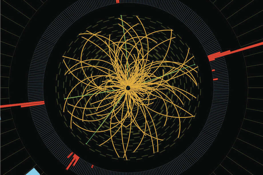 """FILE - This 2011 image provided by CERN, shows a real CMS proton-proton collision in which four high energy electrons (green lines and red towers) are observed in a 2011 event. The event shows characteristics expected from the decay of a Higgs boson but is also consistent with background Standard Model physics processes. Physicists say they are now confident they have discovered a long-sought subatomic particle known as a Higgs boson. The European Organization for Nuclear Research, called CERN, says Thursday March 14, 2013 a look at all the data from 2012 shows that what they found last year was a version of what is popularly referred to as the """"God particle."""" (AP Photo/CERN) / CERN"""