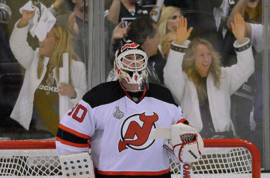 New Jersey Devils goalie Martin Brodeur (30) reacts after a third period goal by the Los Angeles Kings during Game 3 of the Stanley Cup Finals, Monday, June 4, 2012, in Los Angeles. The Kings won 4-0. (AP Photo/Mark J. Terrill) / AP