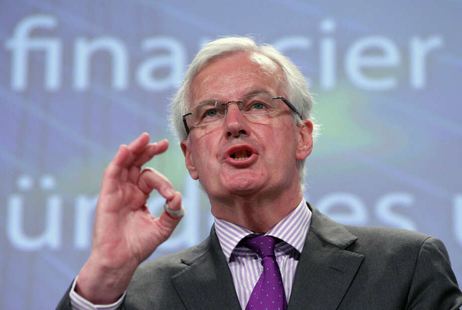 European Commissioner for Internal Market and Services Michel Barnier addresses the media on a new framework for bank recovery and resolution, at the European Commission headquarters in Brussels, Wednesday, June 6, 2012. (AP Photo/Yves Logghe) / AP