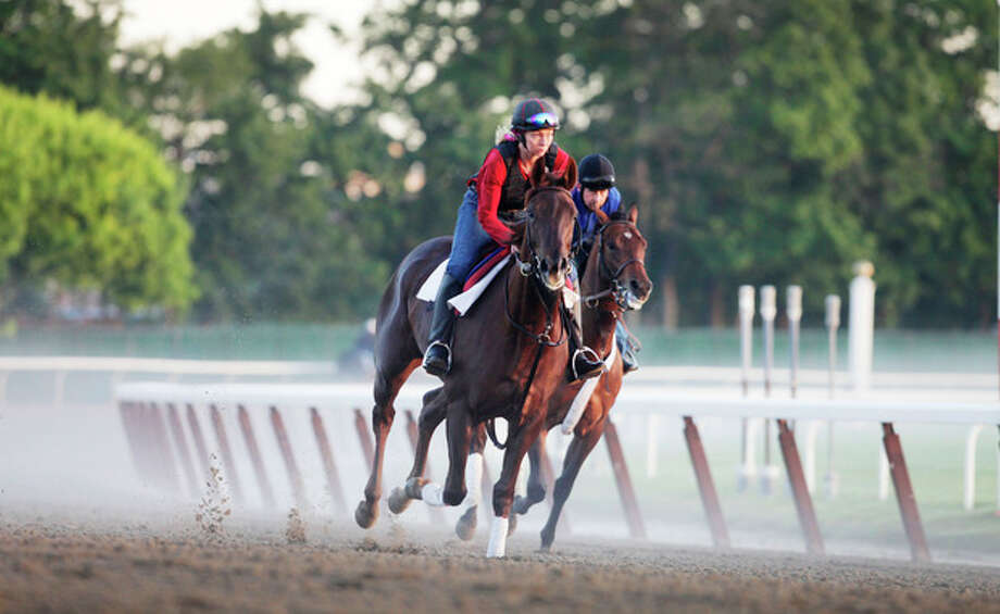 Horses run through a morning fog as they round the fourth and final turn during training at Belmont Park, Wednesday, June 6, 2012 in Elmont, N.Y. The Belmont Stakes horse race is Saturday. (AP Photo/Mark Lennihan) / AP