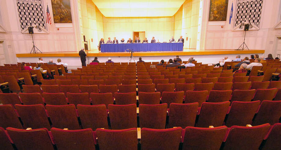 Hour Photo/Alex von Kleydorff. Empty seats at City Hall for the budget meeting.