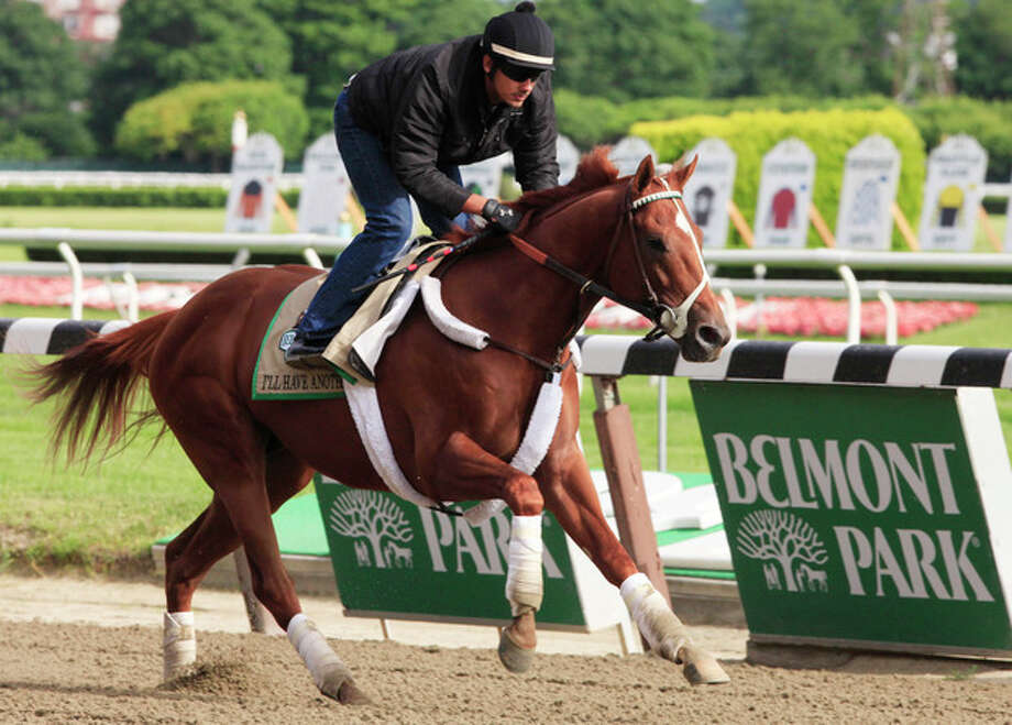 Exercise rider Jonny Garcia guides I'll Have Another during a morning workout at Belmont Park in Elmont, N.Y., Tuesday, June 5, 2012. I'll Have Another is trying to win the Triple Crown in Saturday's Belmont Stakes. (AP Photo/Mark Lennihan) / AP