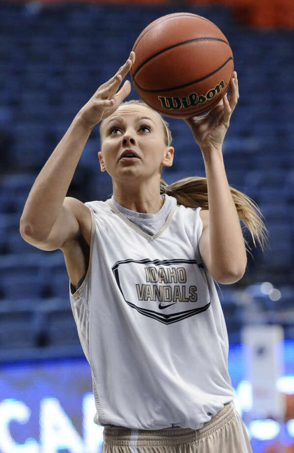 Idaho's Alyssa Charlston shoots during practice for a first-round game in the NCAA women's college basketball tournament in Storrs, Conn., Friday, March 22, 2013. Idaho will play Connecticut on Saturday. (AP Photo/Jessica Hill)