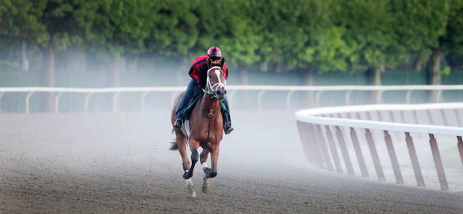 A horse runs through a morning fog as it rounds the fourth and final turn during training at Belmont Park, Wednesday, June 6, 2012 in Elmont, N.Y. The Belmont Stakes horse race is Saturday. (AP Photo/Mark Lennihan) / AP