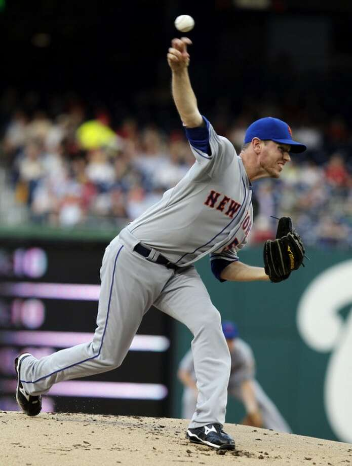 New York Mets starting pitcher Jeremy Hefner throws during the first inning of a baseball game against the Washington Nationals, Wednesday, June 6, 2012, in Washington. (AP Photo/Alex Brandon)