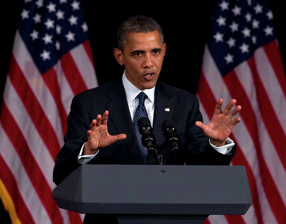 President Barack Obama speaks during a campaign event at the Waldorf Astoria, Monday, June 4, 2012, in New York. (AP Photo/Carolyn Kaster) / AP