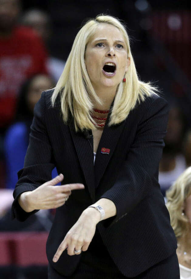 Maryland head coach Brenda Frese directs her players during the first half of a first-round game against Quinnipiac in the women's NCAA college basketball tournament in College Park, Md., Saturday, March 23, 2013. Maryland won 72-52. (AP Photo/Patrick Semansky)