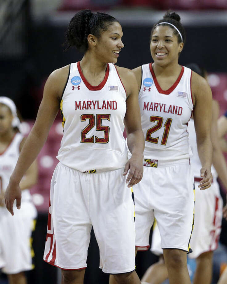 Maryland forwards Alyssa Thomas, left, and Tianna Hawkins chat during the second half of a first-round game against Quinnipiac in the women's NCAA college basketball tournament in College Park, Md., Saturday, March 23, 2013. Thomas and Hawkins contributed 29 and 23 points, respectively, to Maryland's 72-52 win. (AP Photo/Patrick Semansky)