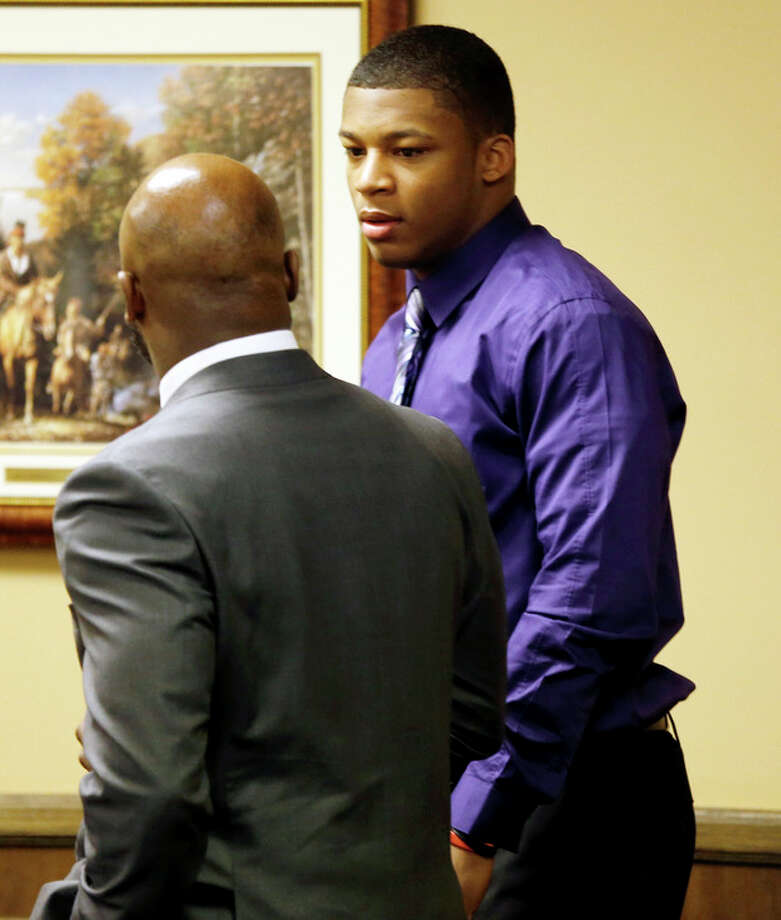 MaysMa'lik Richmond, 16, right, talks with hsia attorner Walter madison as they enter court for the fourth day of his and co-defendant, 17-year-old Trent Mays trial on rape charges in juvenile court on Saturday, March 16, 2013 in Steubenville, Ohio. Mays and Richmond are accused of raping a 16-year-old West Virginia girl in August, 2012. (AP Photo/Keith Srakocic, Pool) / Pool, AP
