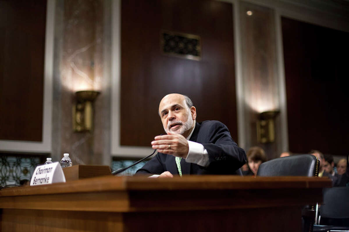 Federal Reserve Board Chairman Ben Bernanke testifies before the Joint Economic Committee about the health of nation's economy, the slumping recovery, and the European debt crisis, on Capitol Hill in Washington, Thursday, June 7, 2012. (AP Photo/J. Scott Applewhite)